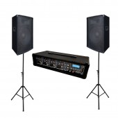 KAM ZP12 2-Way Speakers (Pair) Package w/ KAM Powerhead PA 4-CH Amplified Mixer & Stands